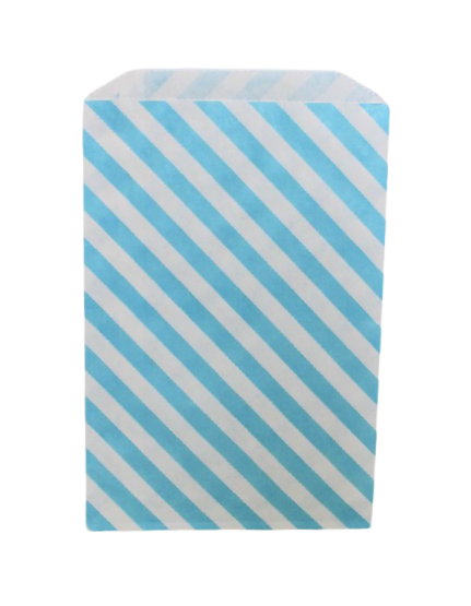 Kalaspåsar 10 st - vit och ljusblå diagonal rand