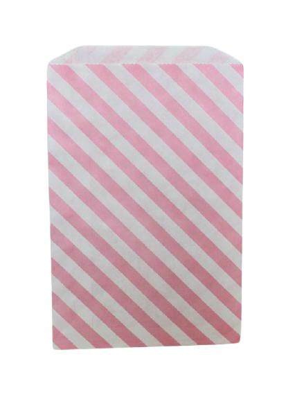 Kalaspåsar 10 st - vit och rosa diagonal rand