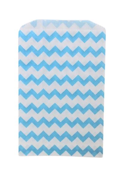 Kalaspåsar 10 st - blå/vit chevron