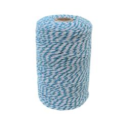 Bomullssnöre blå/vit 200 m