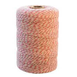 Bomullssnöre rosa/vit 200 m