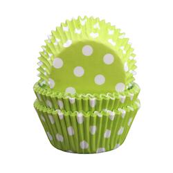 Muffinsform limegrön/vitprickig