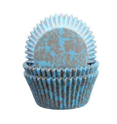 Muffinsformar - Blå, silver medaljong