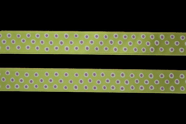 Sidenband - grön med prickar