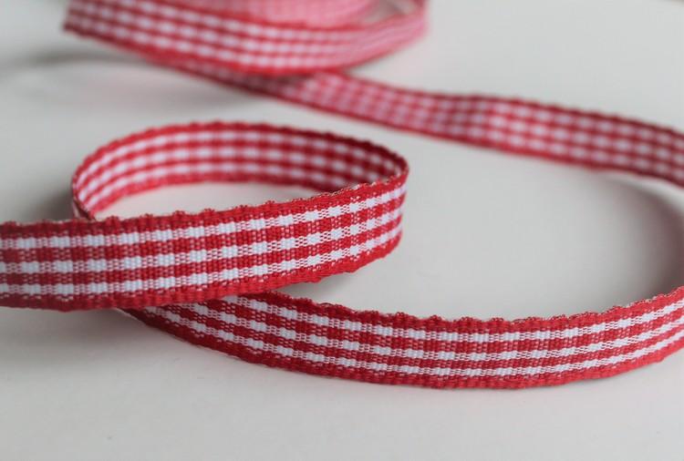Tygband - Röd rutigt