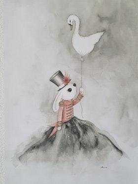 Lilla Denise med svanballong 30x40 cm.