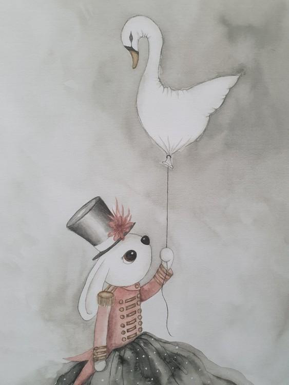 Lilla Denise med svanballong 50x70 cm.
