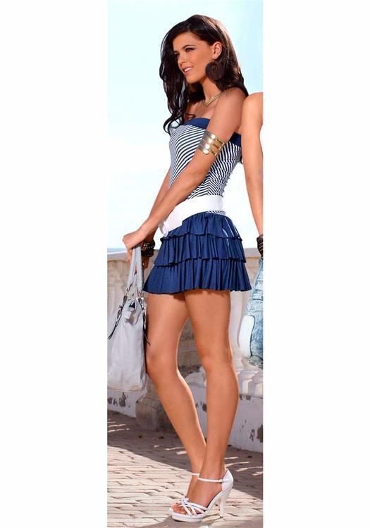 Bandeau klänning, blåvit