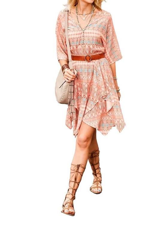 Klänning, aprikos-tryck