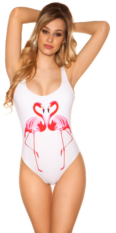 Vit Flamingo baddräkt