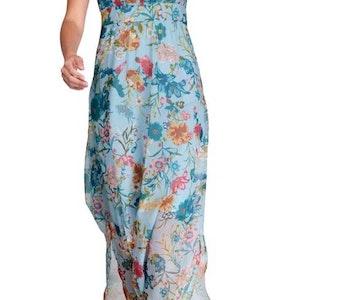 Maxi klänning, turkos-flerfärgad