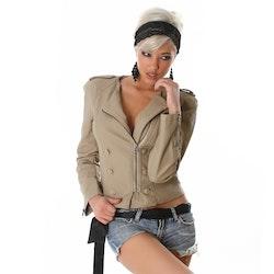 Beige läderimitation jacka