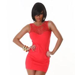 Aprikos-röd miniklänning