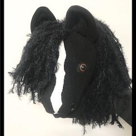 Islands häst svart med bläs