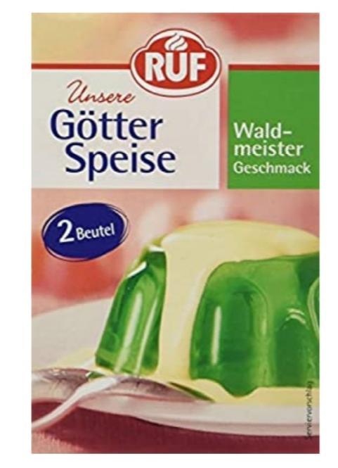GÖTTER SPEISE/ GELÉ PUDDING  GRÖN INNEHÅLLER 2 PÅSAR FÖR 8 PERSONER )