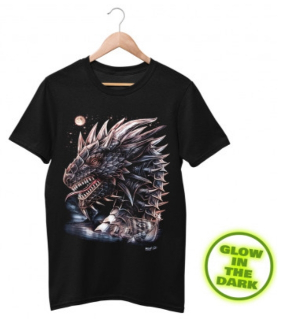 Glow in the Dark Shirt Black Sea Dragon XL