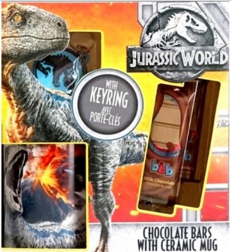 JURASSIC PARK CHOCOLATE BARS MED CERAMIC MUG + NYCKELRING