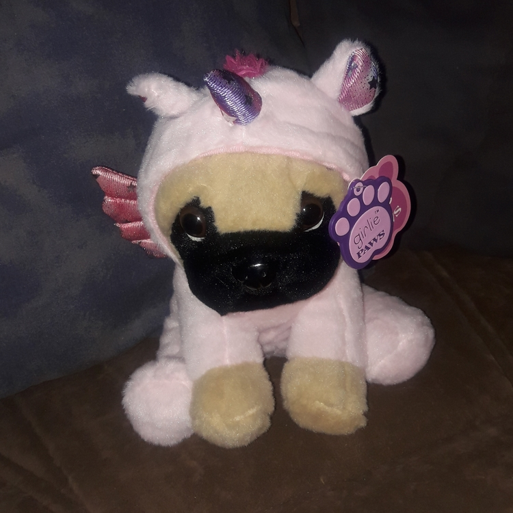 Plush hund i enhörnings dräktljus rosa