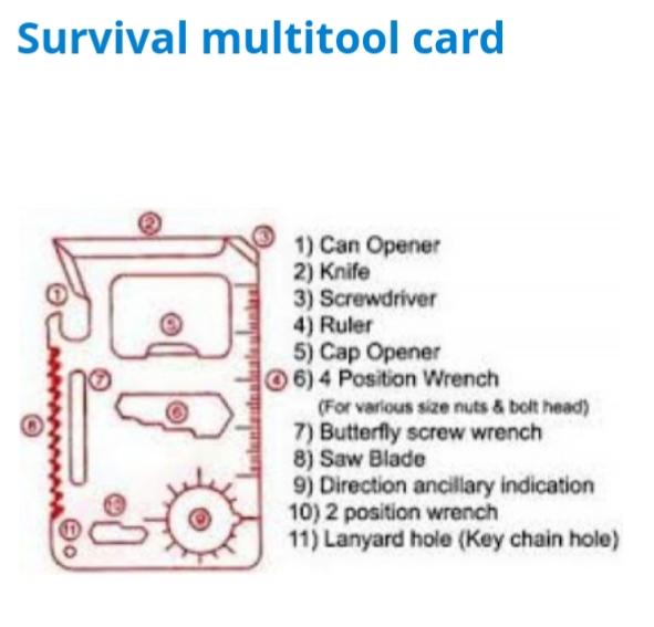Survival multiverktygskort