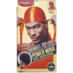 Red by Kiss Wave Cap Power Cap Silky Satin Durag Orange