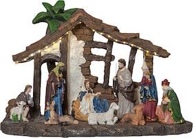 Julkrubba med många fina detaljer och timer