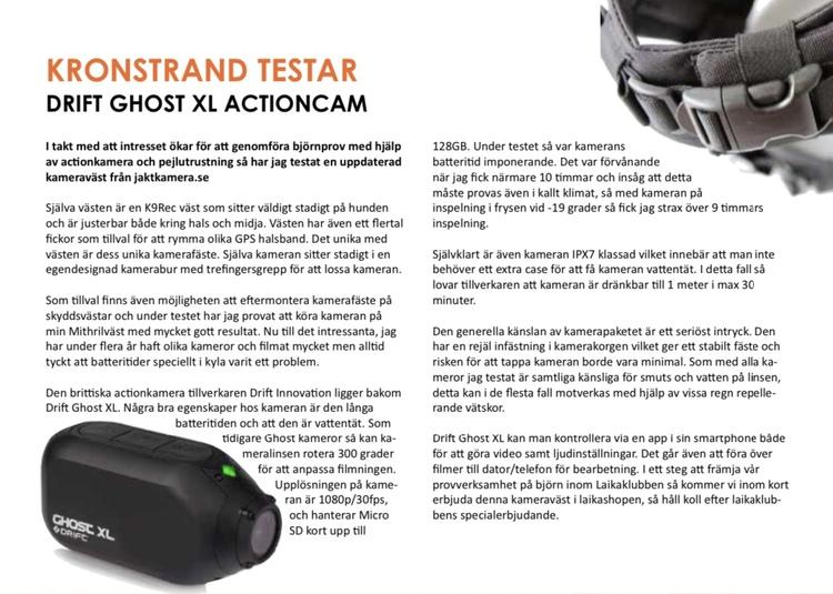 K9Rec kameraväst inkl Drift XL kamera