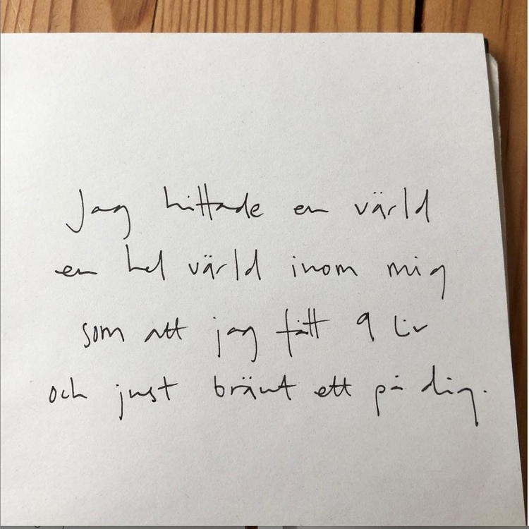 """Handskriven affisch med texten """"jag hittade en värld, en hel värld inom mig. som att jag fått nio liv och just bränt ett på dig.""""."""