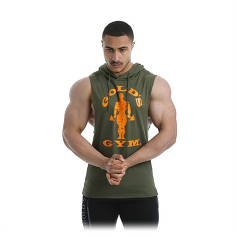 Golds Gym - Drop Armhole Hooded Vest - Army