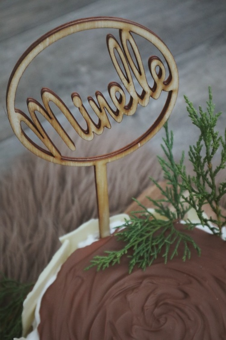 Cake topper - Ring med namn
