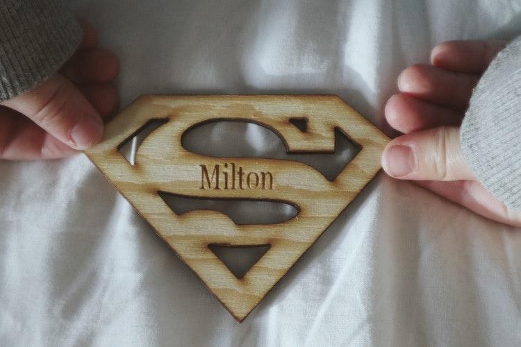 Superman märke - med namn