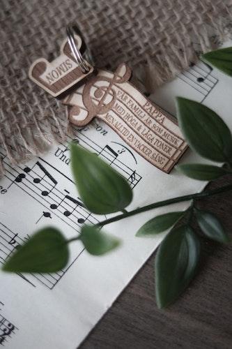 Nyckelring - Vår familj är en vacker sång (valfritt antal noter & namn)
