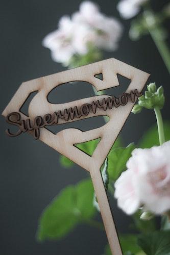"Caketopper / Blompinne ""SUPERMOM/MORMOR/FARMOR"""
