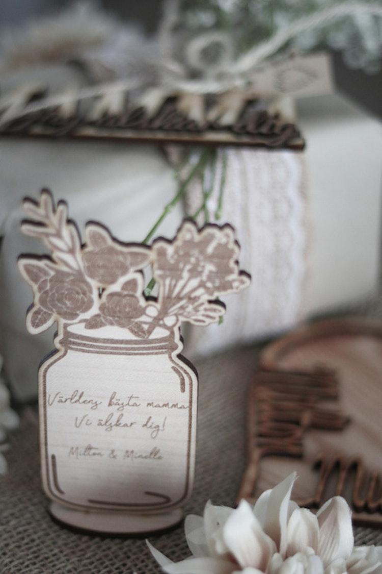 Blombukett i vas - Med valfri text