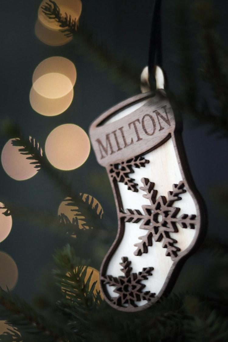 Julstrumpa - julgransdekoration / julkula med valfritt namn