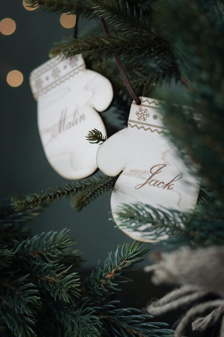 Julgransdekoration / julkula - Vantar med namn
