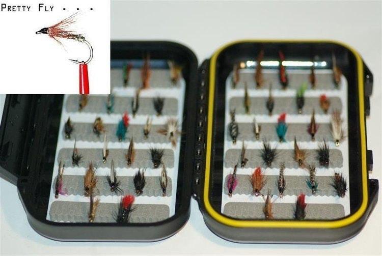 Våtfluge-kollektion | 40 st exklusiva flugor i slitfoam-ask
