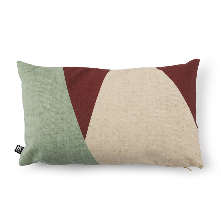 Cushion from HK Living, 35x60 cm with a large scale floral print on the front and an abstract print on the back.