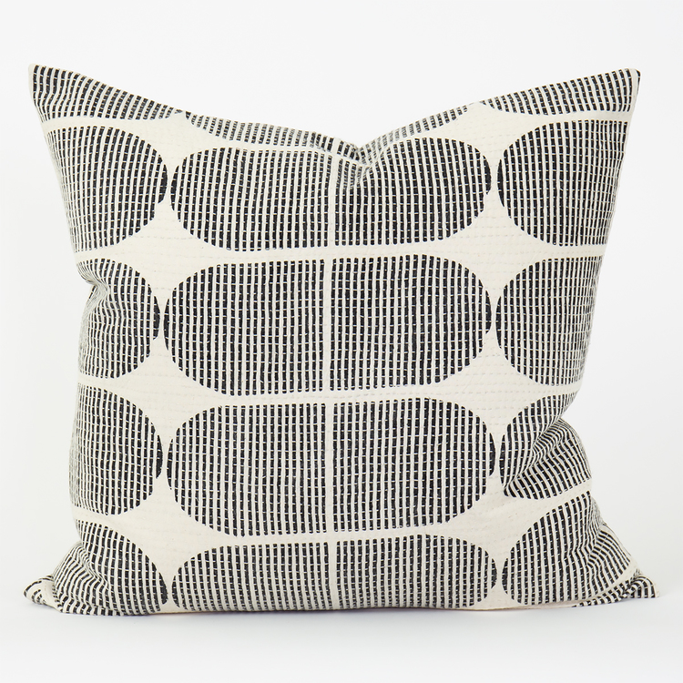 A soft cotton cushion cover from Afro Art with a black and white graphic pattern.