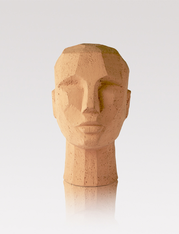 Teracotta head sculpture