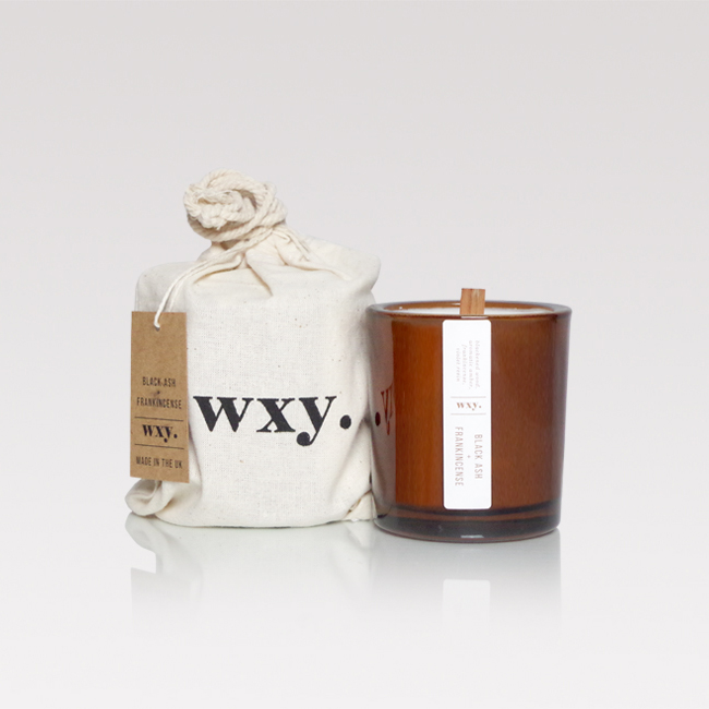 Black ash & frankincense scented candle