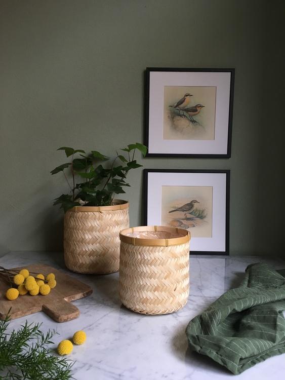 Ljusa flätade bambukorgar med plastad insida i tre storlekar. Fina som blomkrukor eller förvaringskorgar