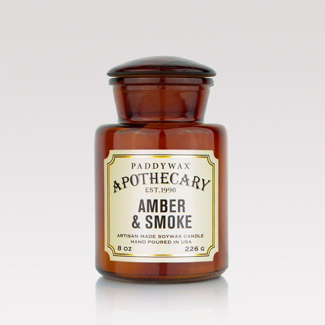 Amber and smoke scented candle