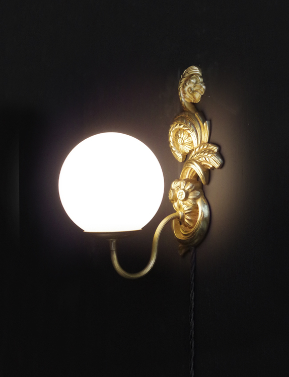 A pair of vintage up-cycled wall lights