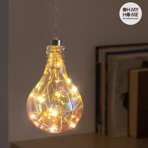 Portabel Glaslampa med LED-slinga