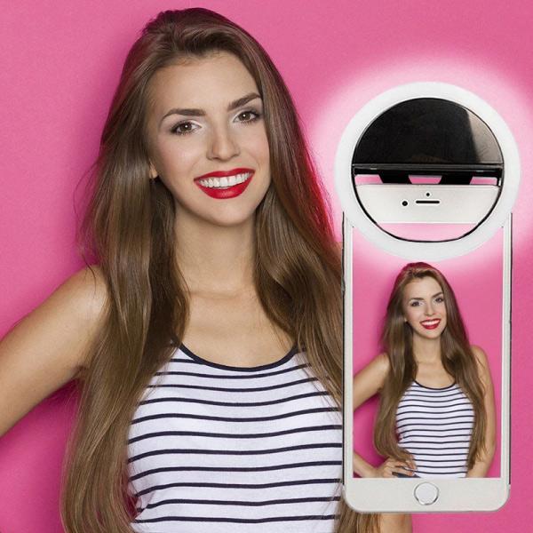 Portabel Selfie LED mobilljus rosa