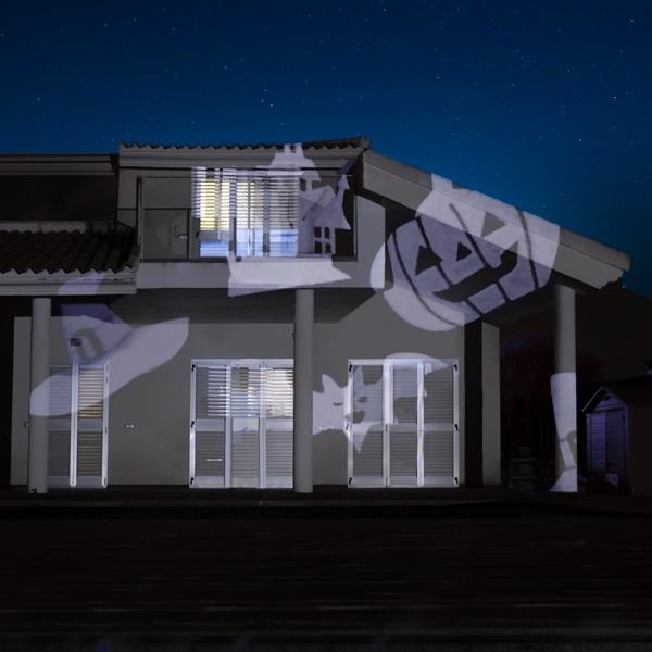 Halloweenbelysning för husvägg