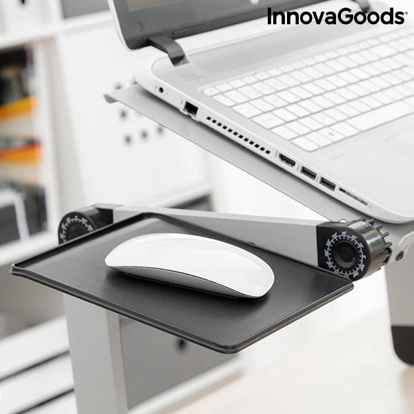 Justerbart laptopbord med ventilationshål och plats för mus