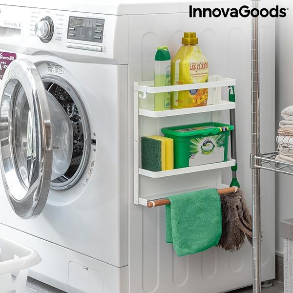 Praktisk vägghylla för badrumet som kan fästas på tvättmaskinen