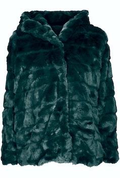 Huda Hooded Faux Fur Jacket Dark Green