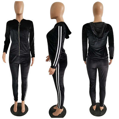 Mrs. Stripes 2 piece velvet tracksuit Black